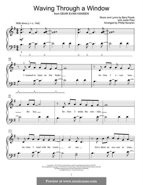 Waving Through a Window (from Dear Evan Hansen): Para Piano by Justin Paul, Benj Pasek