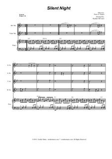 Silent Night (Downloadable): For saxophone quartet and piano by Franz Xaver Gruber