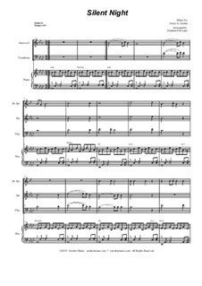 Silent Night (Downloadable): For brass trio and piano by Franz Xaver Gruber