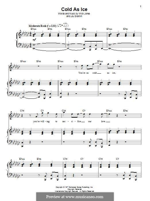Cold as Ice (Foreigner): Para vocais e piano by Lou Gramm, Mick Jones