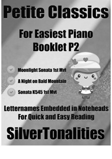 Petite Classics for Easiest Piano Booklet P2: Petite Classics for Easiest Piano Booklet P2 by Wolfgang Amadeus Mozart, Ludwig van Beethoven, Modest Mussorgsky