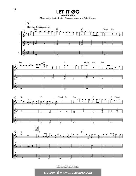 Let It Go (from Frozen): For ukulele trio by Robert Lopez, Kristen Anderson-Lopez