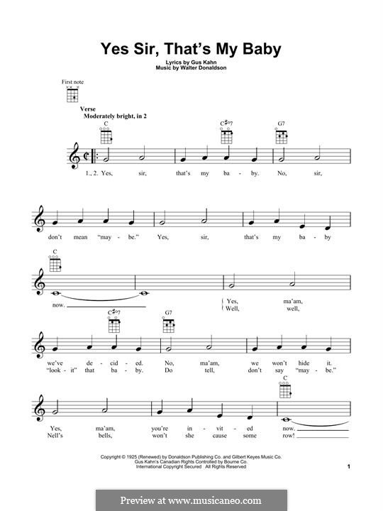 Yes Sir, That's My Baby: para ukulele by Walter Donaldson