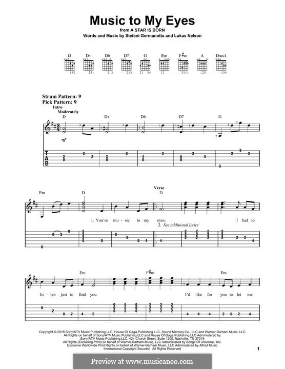 Music To My Eyes (from A Star is Born): Para guitarra com guia by Stefani Germanotta, Lukas Nelson