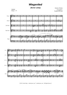 No.4 Cradle Song: For flute choir and piano by Johannes Brahms