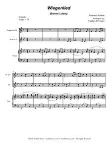 No.4 Cradle Song: Duet for Bb-trumpet, french horn and piano by Johannes Brahms