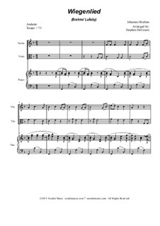 No.4 Cradle Song: Duet for violin, viola and piano by Johannes Brahms