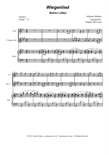 No.4 Cradle Song: Duet for flute, Bb-clarinet and piano by Johannes Brahms
