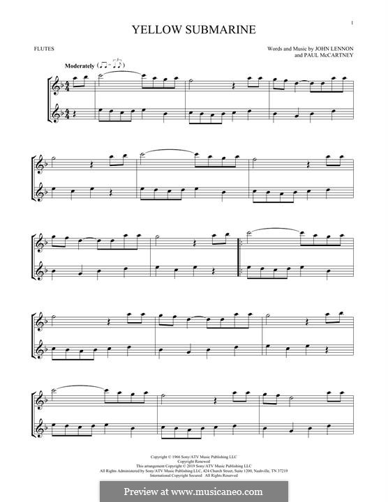 Yellow Submarine (The Beatles): para duas flautas by John Lennon, Paul McCartney