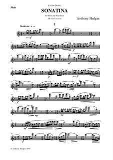 Sonatina for Flute and Piano, Op.86: Parte de solo by Anthony Hedges