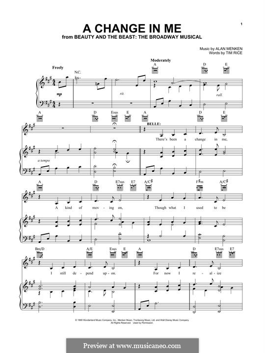A Change in Me (from Beauty and the Beast: The Broadway Musical): Para vocais e piano (ou Guitarra) by Alan Menken