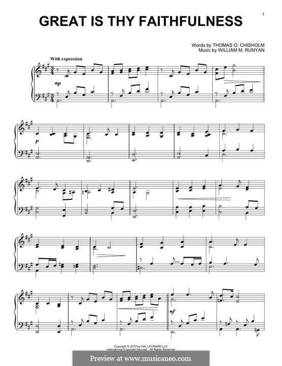 Great Is Thy Faithfulness: Para Piano by William Marion Runyan