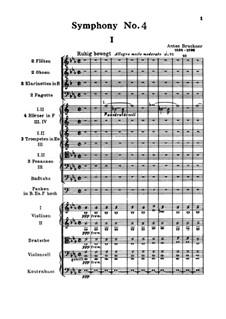 Symphony No.4 in E Flat Major 'Romantic', WAB 104: partitura completa by Anton Bruckner