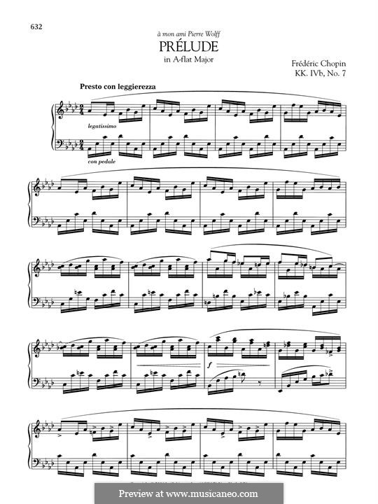 Prelude in A Flat Major, B.86 KK. IVb/7: Para Piano by Frédéric Chopin