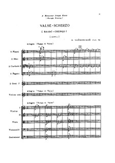 Waltz-Scherzo for Violin and Orchestra, TH 58 Op.34: partitura completa by Pyotr Tchaikovsky