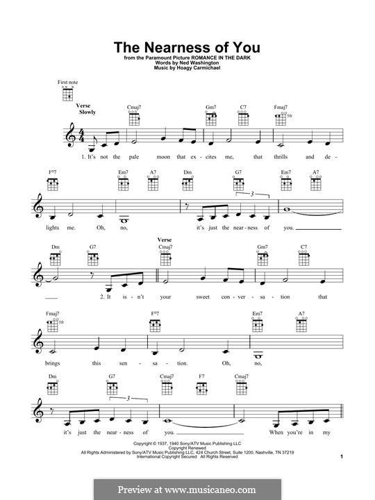The Nearness of You: para ukulele by Hoagy Carmichael
