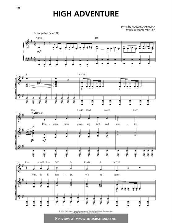 High Adventure: Para vocais e piano by Alan Menken