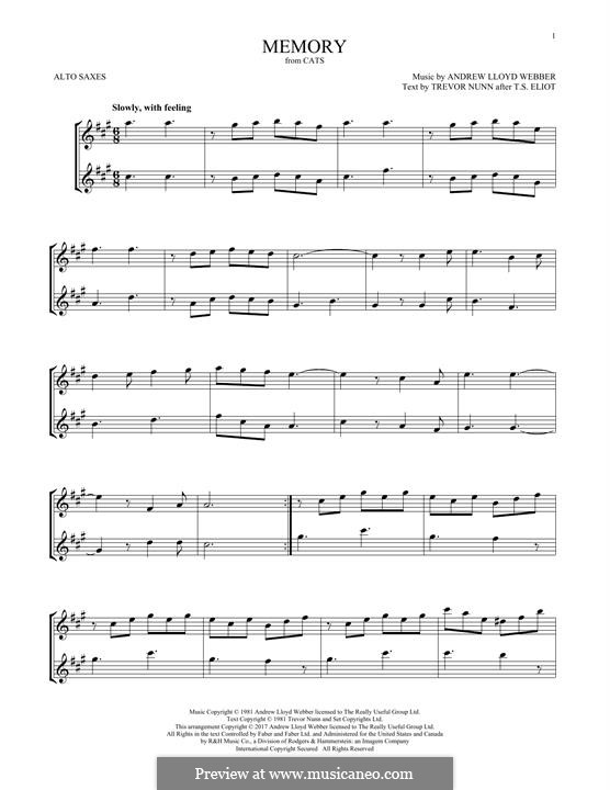 Memory (from Cats): para dois alto saxophones by Andrew Lloyd Webber