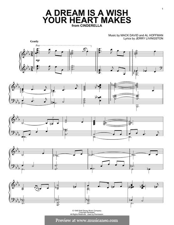 A Dream Is a Wish Your Heart Makes (from Disney's Cinderella): Para Piano by Al Hoffman, Jerry Livingston, Mack David