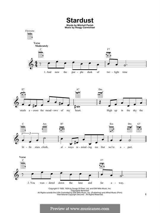 Stardust (Frank Sinatra): para ukulele by Hoagy Carmichael