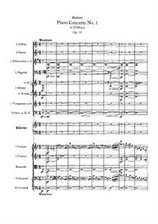Concerto for Piano and Orchestra No.1 in D Minor, Op.15: Partitura completa by Johannes Brahms