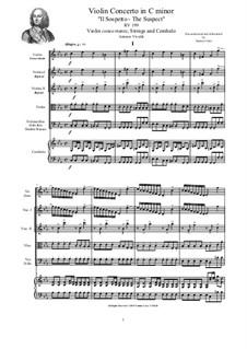 Concerto in C minor 'The Suspect' for Violin, Strings and Cembalo, RV 199: Score, parts by Antonio Vivaldi