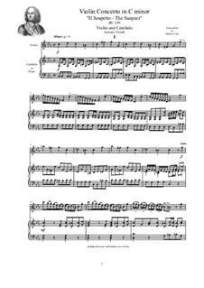Concerto in C minor 'The Suspect' for Violin, Strings and Cembalo, RV 199: Version for violin and cembalo (or piano) by Antonio Vivaldi