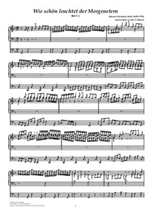 Wie schön leuchtet der Morgenstern, BWV 1: para orgãos by Johann Sebastian Bach