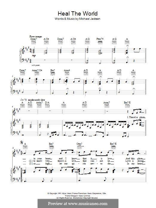 Heal the World: Para vocais e piano (ou Guitarra) by Michael Jackson