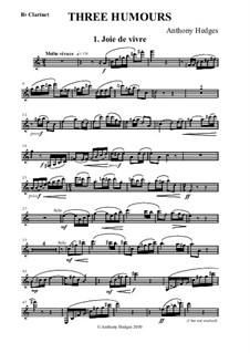 Three Humours, Op.163: parte clarinete by Anthony Hedges