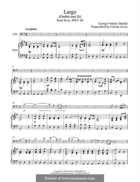 Ombra mai fu: para Violoncelo e piano by Georg Friedrich Händel