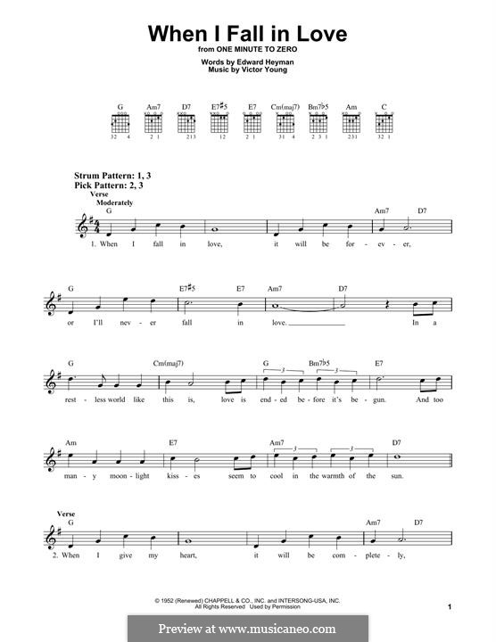 When I Fall in Love (Celine Dion): Para guitarra com guia by Victor Young