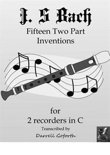 Complete set, BWV 772-786: For 2 recorders in C by Johann Sebastian Bach