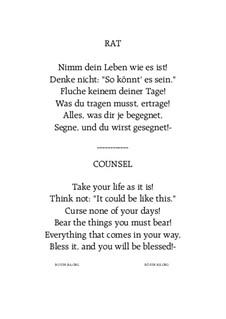Rat - Counsel: For mixed choir SATB by Hans Bakker
