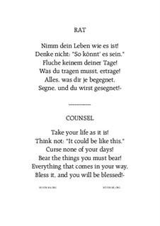 Rat - Counsel: For male choir TTBB by Hans Bakker