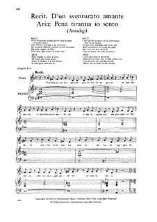 Amadigi di Gaula, HWV 11: Pena tiranna, Low Voice by Georg Friedrich Händel