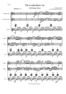 Danny Boy (Londonderry Air): For alto recorder, tenor recorder and guitar by folklore