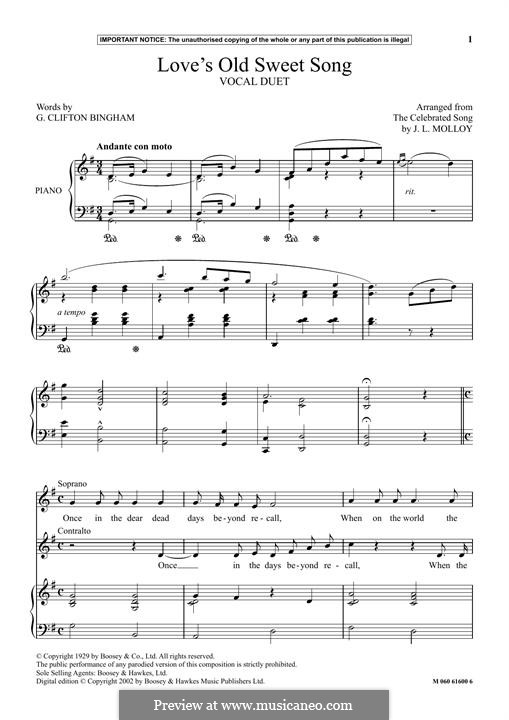 Love's Old Sweet Song: Para vocais e piano by James L. Molloy