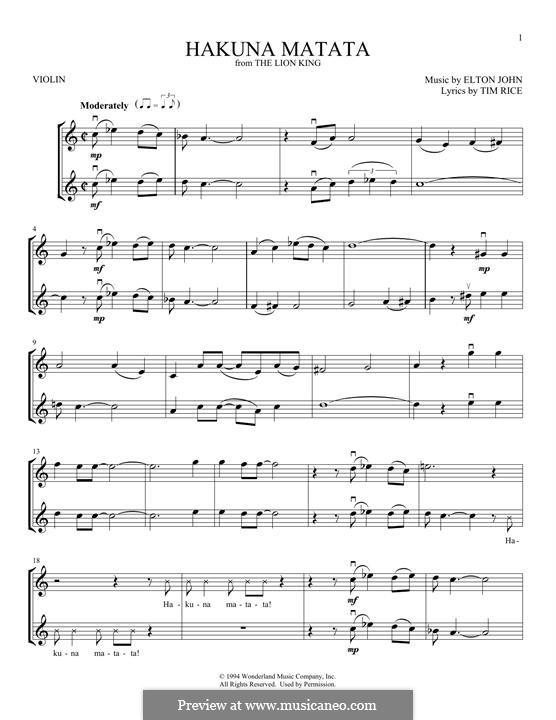 Hakuna Matata (from The Lion King): para dois violinos by Elton John