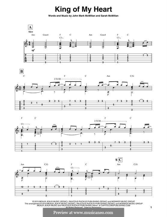 King of My Heart: For guitar by Sarah McMillan, John Mark McMillan