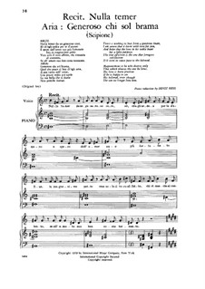 Scipione, HWV 20: Generoso chi sol brama, Low Voice by Georg Friedrich Händel