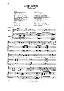 Tolomeo (Ptolemy, King of Egypt), HWV 25: Stille amare, Low Voice by Georg Friedrich Händel