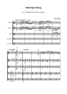 Suite No.2. Solveig's Song: For string orchestra - score and parts by Edvard Grieg
