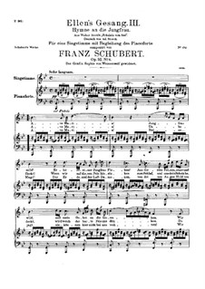 Ave Maria (Piano-vocal score), D.839 Op.52 No.6: For voice and piano by Franz Schubert