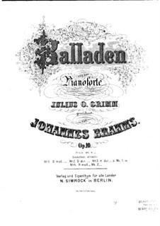 Four Ballades, Op.10: Complete set by Johannes Brahms