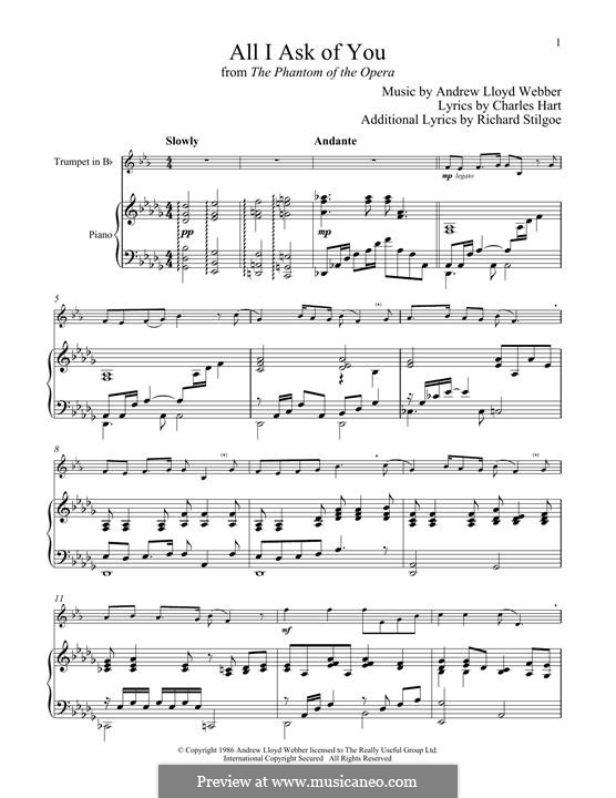All I Ask of You: para trompeta e piano by Andrew Lloyd Webber