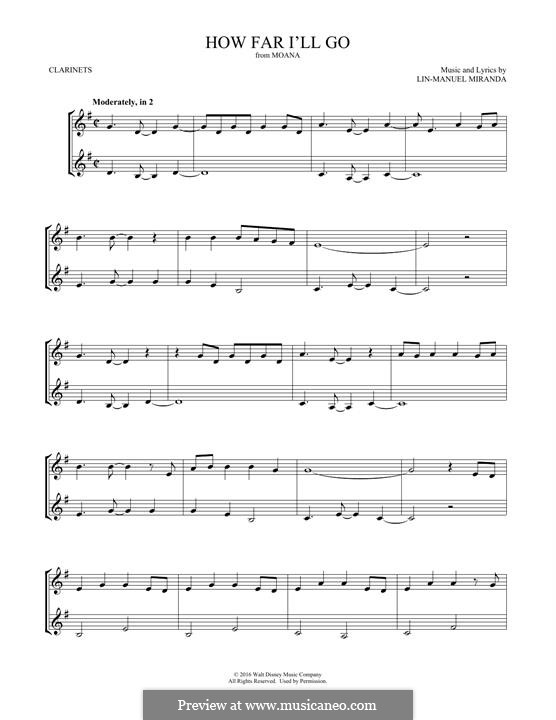 How Far I'll Go (Alessia Cara): para duas clarinetas by Lin-Manuel Miranda