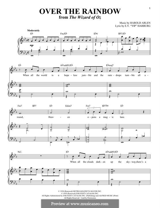 Over the Rainbow (from The Wizard of Oz): Para vocais e piano by Harold Arlen