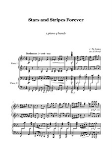 Stars and Stripes Forever : For piano 4 hands – score and parts by John Philip Sousa