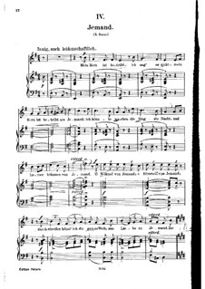 No.4 Jemand (Celui que j'aime): gravação piano-vocal (texto alemão) by Robert Schumann